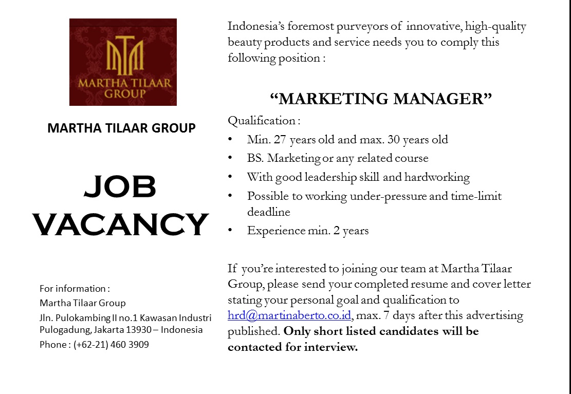 Job Vacancy Indonesia December 2015